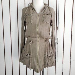 Monoreno wrinkled light jacket full zip size M